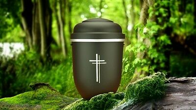 Biodegradable Cremation Ashes Urn - ORCHESTRA BLACK WITH DOUBLE CROSS DESIGN