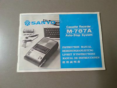 Sanyo Cassette Recorder M-787A Instruction Manual