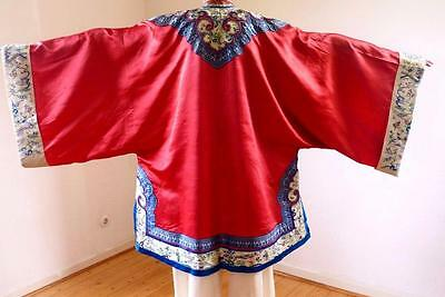 Chinese Early 19Thc Red Silk Robe Two Different Handstitched Embellishment Trim