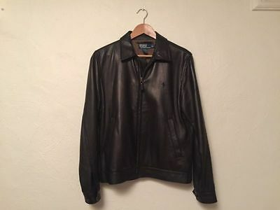 Polo Ralph Lauren black leather jacket size Small