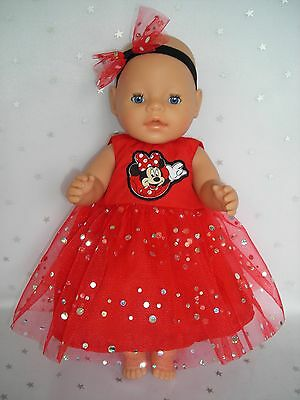 """Dolls clothes  for 17"""" Baby Born  doll~MINNIE MOUSE RED SPARKLY PARTY DRESS SET"""