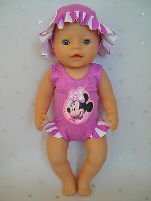 """Dolls clothes for 17"""" Baby Born doll~MINNIE MOUSE PURPLE STRIPE SWIMMING COSTUME"""