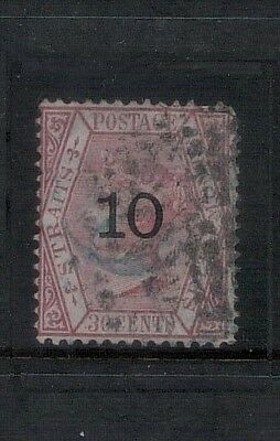 "Malaya Straits Settlements QV 1880 10c on 30c Type B ""1 thick curved & 0 broad"""