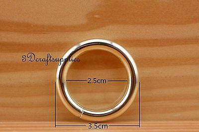 metal O rings O-ring purse ring connector light gold 25 mm 1 inch 10pcs U188