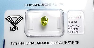 Sphène 1.33 carats - Natural Sphene titanite Certified IGI
