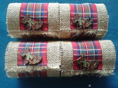 4 Hand Made Hessian/tartan Ribbon & Scottie Dog Button Christmas Napkin Rings