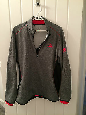 adidas climaheat golf top in grey size M