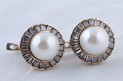 Amazing! Turkish Jewelry Round Pearl Baguette Topaz 925 Sterling Silver Earrings