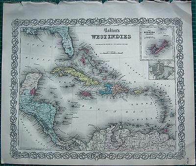 1855 Large Antique Map-Colton- West Indies