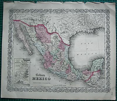 1863 Large Antique Map-Colton- Mexico