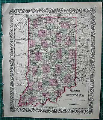 1855 Large Antique Map-Colton- Indiana