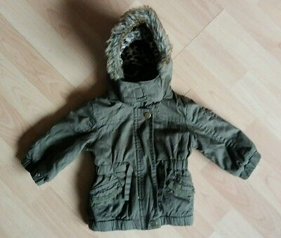 baby girl parka jacket f&f 0-3m in vgc