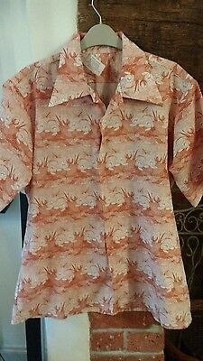 Retro Vintage  Mens Shirt Frogs on LillyPads large _ XL