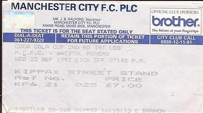 Football Ticket Stub - Man City v Bristol Rovers - League Cup - 1992