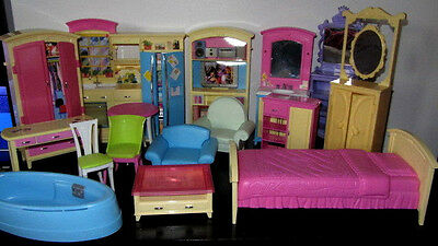Barbie doll furniture bundle(mattel) -kitchen, living room,  bedroom, bathroom
