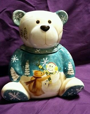 Appletree Designs Beary Merry Christmas Teddy Bear Ceramic Cookie Candy Jar