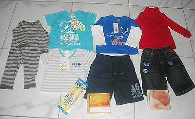 BABY BOY - Bulk Lot Clothing - MOST NWT - SIZE 0/1  + 2 Calming CDs + extras
