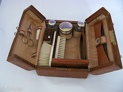 Vintage Leather Travel Case Bag, Silver Vanity Jars Gladstone Shadwell & Kerton