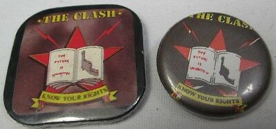 The Clash 2x Vintage Circa 1982 Know Your Rights Badge Pin Button Punk New Wave