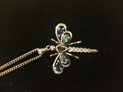 9ct white gold diamond and topaz dragonfly pendant