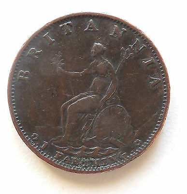 1799 Soho George Iii Copper Farthing Coin (3692)