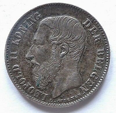 1886 Fifty 50  Cent Belgium Leopold Ii  (3744A)