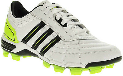 Adidas 118 Pro Mens White Black Yellow Leather Moulded Stud Rugby Boot Size 13.5