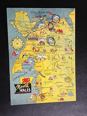 North Wales Map Art Colour Style Postcard