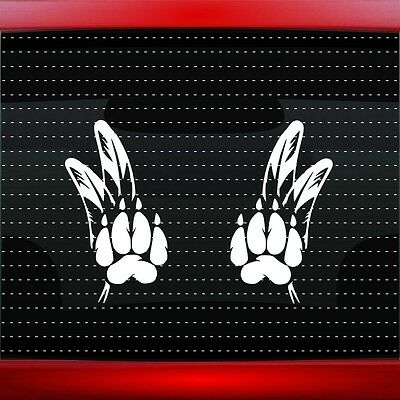 Wolf Paw #3 Pair Native American Car Decal Window Sticker Feather (20 COLORS!)