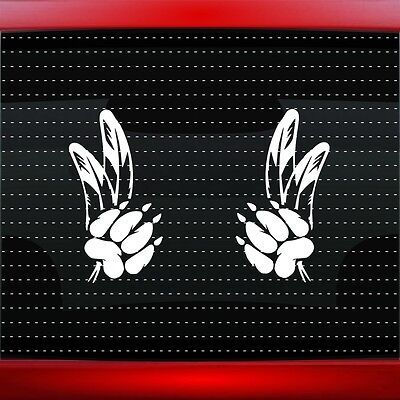 Wolf Paw #5 Pair Native American Car Decal Window Sticker Feather (20 COLORS!)