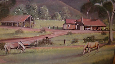 Oil Painting on Canvas board Australian Homestead and horses Original