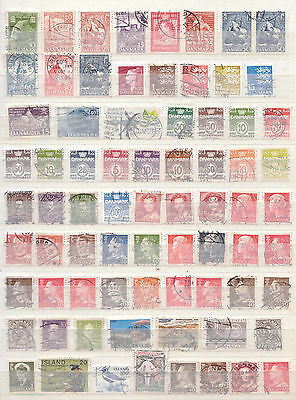 Selection of 74 Denmark Greenland Iceland Postage Stamps