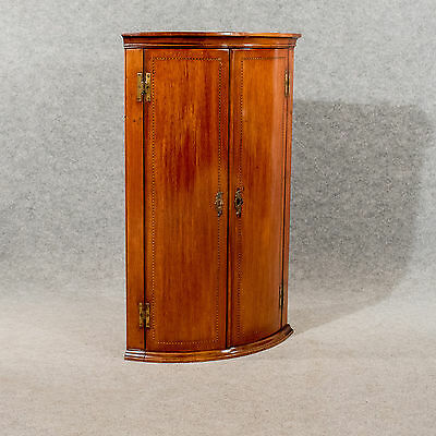Antique Bow Front Corner Cabinet Cupboard Mahogany 18thC English Georgian c1780
