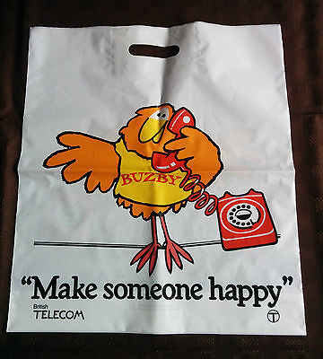 """Rare 1970s Buzby """"Make Someone Happy"""" BT Carrier Bag"""