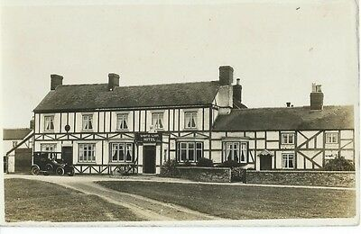 White Lion Hotel With Motor Car Outside, Unknown Location, Sepia Photo Postcard