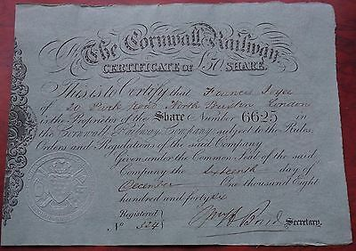 G.B. Cornwall Railway £50 share certificate dated 1846, black on green paper EF.
