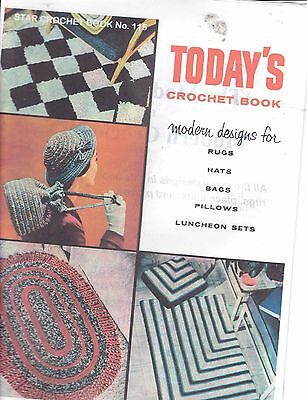 Vintage retro photo copy TODAY'S CROCHET BOOK RUGS HATS BAGS PILLOWS