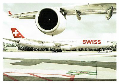 Airline issue postcard SWISS Airbus A340-300 under wing view