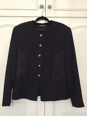 Vintage 80s Ladies Hardob Skirt Suit with Gold Buttons UK 14