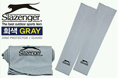 1Pair Slazenger Gray Cooling Sports Arm Stretch Sleeves UV Protection Size S/M