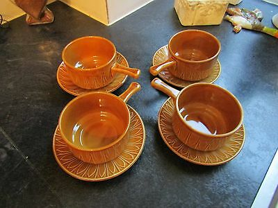 4X Vintage Soup Bowls & Saucers In The Style Of Tams