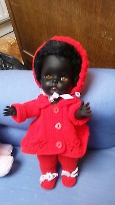 1960s Vintage Black doll in pretty red outfit