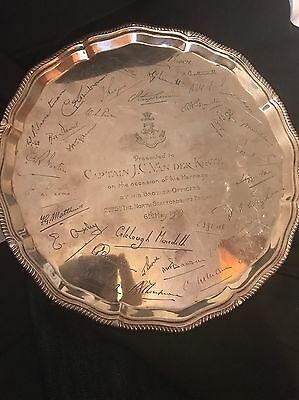 Large Solid Silver Salver/Tray 631g- Sheffield 1938 Goldsmiths & Silversmiths Co