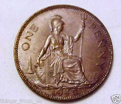 HIGH GRADE 1945 PENNY KING GEORGE 6th =NEAR UNCIRCULATED GRADE WITH LUSTER TRACE