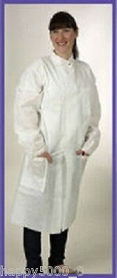 25 x Premier Howie Disposable Long Sleeve Laboratoy Coats, Large in White Unisex