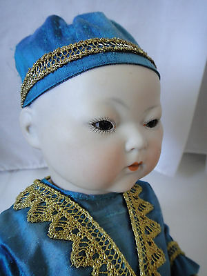 """German Oriental Character Doll 14"""" Probably Armand Marseille Circa 1913"""