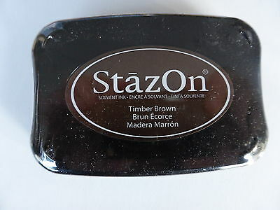 *NEW* Tsukineko STAZON Full Size Permanent Solvent Ink Pad 'TIMBER BROWN'