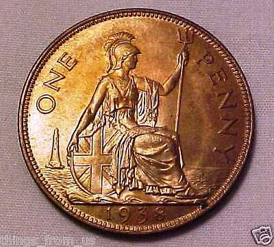 HIGH GRADE 1938 PENNY KING GEORGE 6th =NEAR UNCIRCULATED GRADE WITH GREAT LUSTER