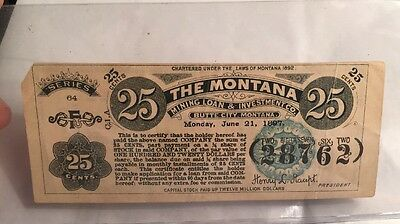 1897 The Montana 25 Cent Stock Certificate Mining Loan & Investment Co