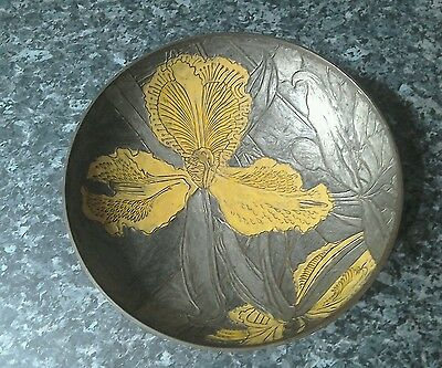 Bygone hand painted type brass bowl floral design